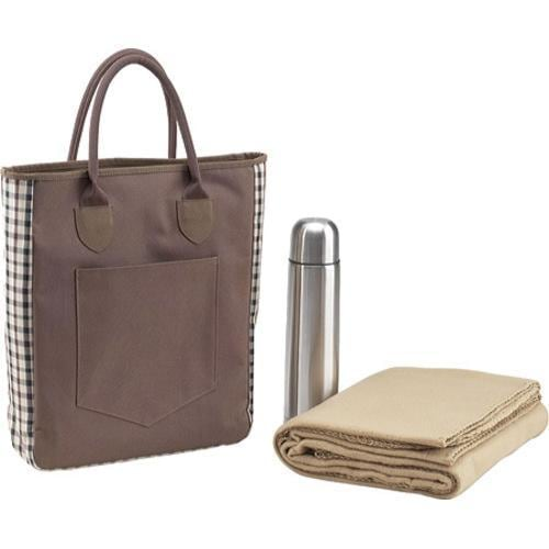 Picnic at Ascot Coffee and Blanket Tote Brown/Check
