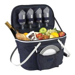 Picnic at Ascot Collapsible Insulated Picnic Basket for Four Navy