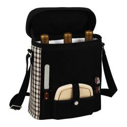 Picnic at Ascot Divided Cooler Three Bottle Tote Black/London Plaid