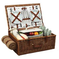 Picnic at Ascot Dorset Basket for Four with Blanket Wicker/Gazebo