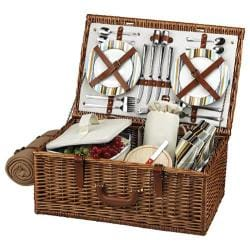 Picnic at Ascot Dorset Basket for Four with Blanket Wicker/Santa Cruz