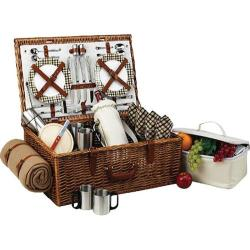 Picnic at Ascot Dorset Basket for Four with Coffee Set and Blanket Wicker/Gazebo