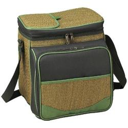 Picnic at Ascot Eco Picnic Cooler for Two Natural Weave/Forest Green