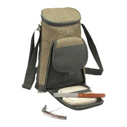 Picnic at Ascot Eco Two Bottle Carrier and Cheese Set Natural/Forest Green