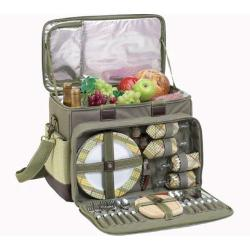 Picnic at Ascot Hamptons Deluxe Picnic Cooler for Four Olive/Tweed