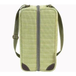 Picnic at Ascot Hamptons Deluxe Wine Carrier for Two Olive Tweed