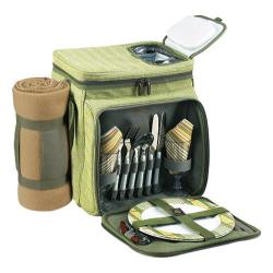 Picnic at Ascot Hamptons Picnic Cooler for Two with Blanket Olive Tweed