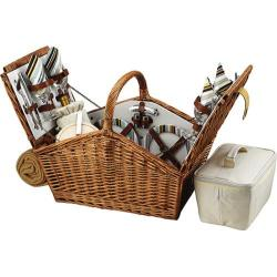Picnic at Ascot Huntsman Basket for Four with Blanket Wicker/Santa Cruz