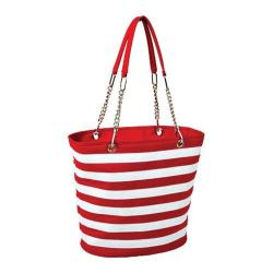 Picnic at Ascot Insulated Cooler Tote Red/White Stripe
