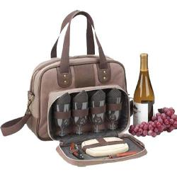Picnic at Ascot New Hudson Wine and Cheese Cooler for Four Two Tone Brown