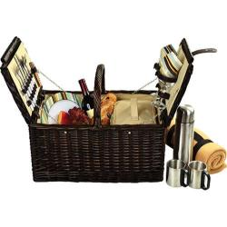 Picnic at Ascot Surrey Picnic Basket for Two with Blanket/Coffee Brown Wicker/Santa Cruz Stripe