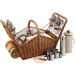 Picnic at Ascot Sussex Picnic Basket for Two with Blanket/Coffee Wicker/London Plaid