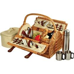 Picnic at Ascot Sussex Picnic Basket for Two with Coffee Wicker/Santa Cruz Stripe