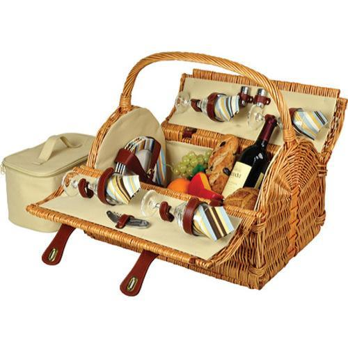 Picnic at Ascot Yorkshire Picnic Basket for Four Wicker/Santa Cruz Stripe