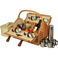 Picnic at Ascot Yorkshire Picnic Basket for Four with Coffee Wicker/Santa Cruz Stripe