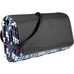Picnic Time Blanket Tote XL Black Plaid/Black