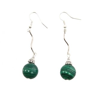 Handmade Malachite Bead Swivel Earrings (China)