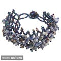 Blue or Orange Rutilated Quartz Crystal Bracelet (China)