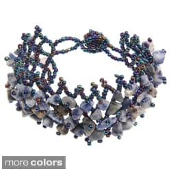 Blue or Orange Rutilated Quartz Crystal Bracelet (China)