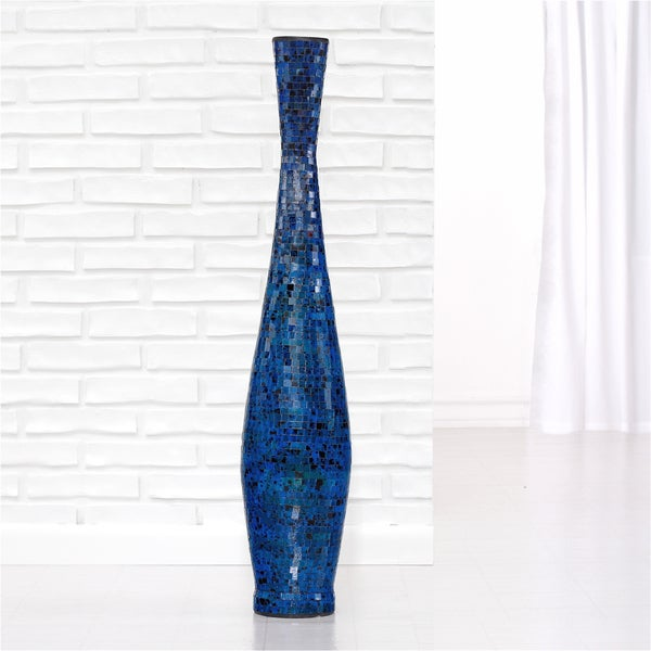 Ocean Blue Medium Trumpet Mosaic Decorative Vase (Indonesia)
