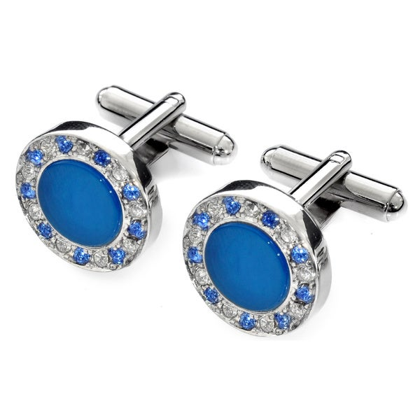 EJ Sutton Classic Agate and Swarovski Crystal Cufflinks (Israel)