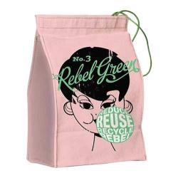 Women's Rebel Green Bubble Lunch Bag/Reusable Napkin Rose Cotton Canvas