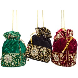Velvet Potli Drawstring Bag with Zardozi Embroidery (India)