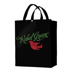 Rebel Green Logo Tote Bag Black Cotton Canvas