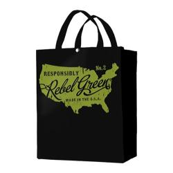 Rebel Green Map Tote Bag Black Cotton Canvas