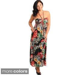 Stanzino Women's Plus Floral Print Halter Maxi Dress