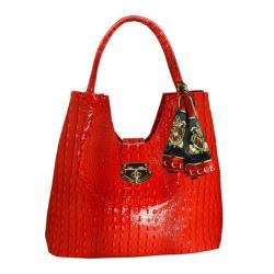 Women's Vecceli Italy AS-177 Red Alligator Compressed Leather