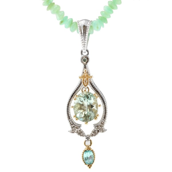 Michael Valitutti 14k Two-tone Gold Amblygonite, Apatite, Green Opal and Diamond Necklace
