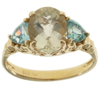 Michael Valitutti 14k Yellow Gold Desert Sunstone and Blue Zircon Ring