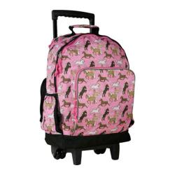 Women's Wildkin High Roller Rolling Backpack Horses in Pink