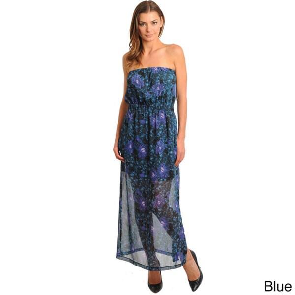 Stanzino Women's Floral Print Semi-Sheer Strapless Maxi Dress
