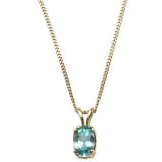 Michael Valitutti 14k Yellow Gold Blue Zircon Necklace