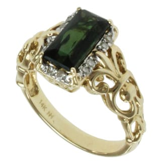 Michael Valitutti 14k Yellow Gold Bahia Green Radiant-cut Tourmaline and Diamond Ring