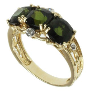 Michael Valitutti 14k Yellow Gold Bahia Green Round-cut Tourmaline and Diamond Ring