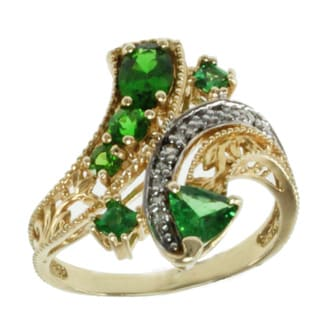 Michael Valitutti 14k Yellow Gold Tsavorite, Chrome Diopside and Diamond Ring