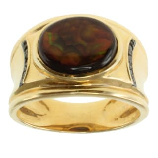 Michael Valitutti Men's 14k Yellow Gold Fire Agate and Black Diamond Ring