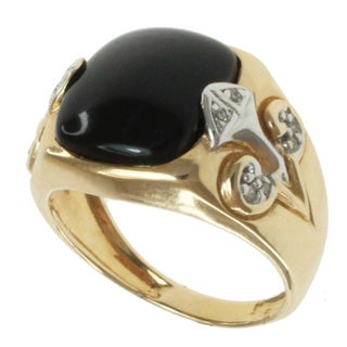 Michael Valitutti Men's 14k Yellow Gold Black Agate and Diamond Ring