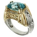 Michael Valitutti 14k Two-tone Gold Paraiba Apatite and Diamond Ring