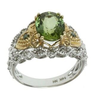 Michael Valitutti 14K Two-tone Gold Oval-cut Green Tourmaline and Diamond Ring