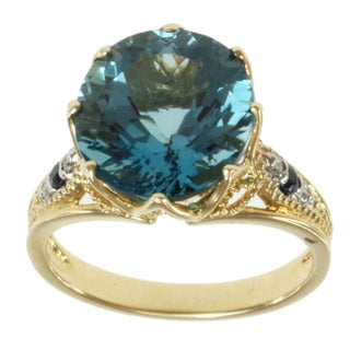 Michael Valitutti 14k Yellow Gold Blue Topaz, Sapphire and Diamond Ring