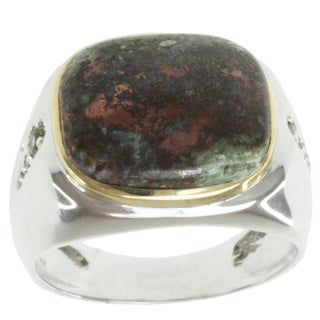 Michael Valitutti Men's 14k Two-tone Gold Copper Ore, Green Sapphire and Diamond Ring