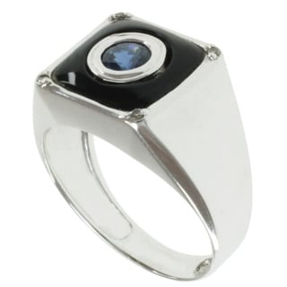Michael Valitutti Men's 14k White Gold Black Onyx, Blue Sapphire and Diamond Ring