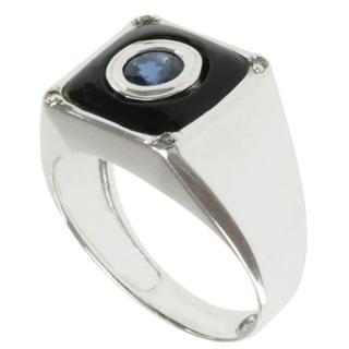 Michael Valitutti Men's 14k White Gold Black Onyx, Blue Sapphire and Diamond Ring