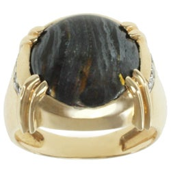Michael Valitutti Men's 14k Yellow Gold Tiger Eye and Diamond Ring