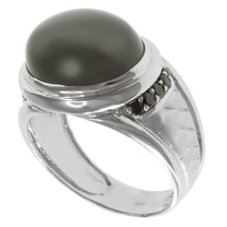 Michael Valitutti Men's 10k White Gold One of a Kind Grey Moonstone and Black Diamond Ring