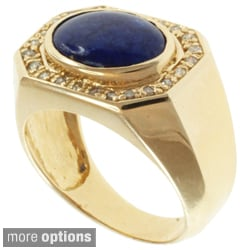 Michael Valitutti Men's 14k White or Yellow Gold Black Jade or Lapis and Diamond Ring